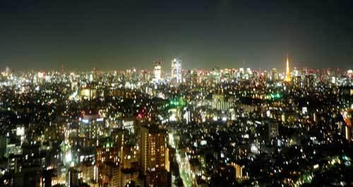 恵比寿ガーデンプレイスの東天紅の夜景