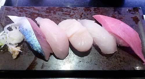 活美登利 回し寿司活の握り5点盛り