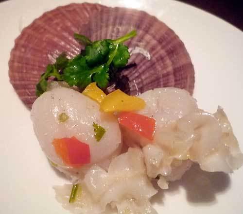 中華料理の帆立貝の葱ソース